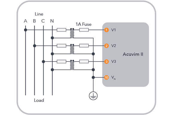 the connection diagram is the same as the direct voltage connection seen in  figure 1, with the exception of the pt connections for the voltage lines